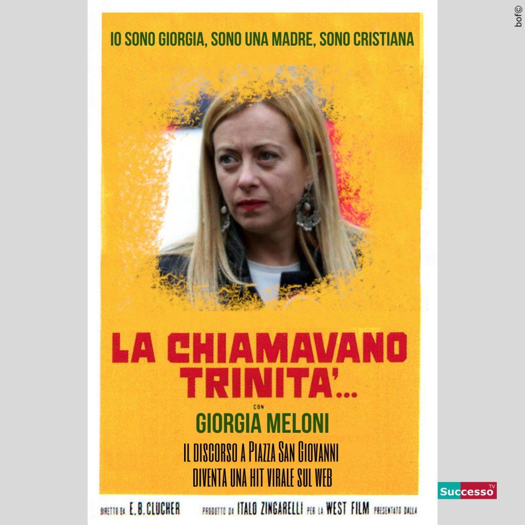 successotv satira parodia cinema giorgia meloni trinita