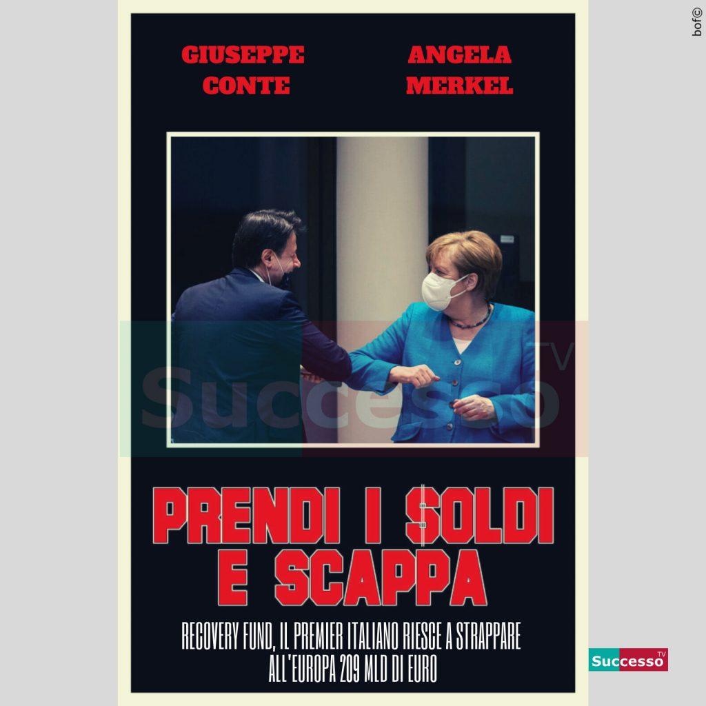 le cartoline di successo tv 2020 Mes Giuseppe Conte Angela Merkel Mes