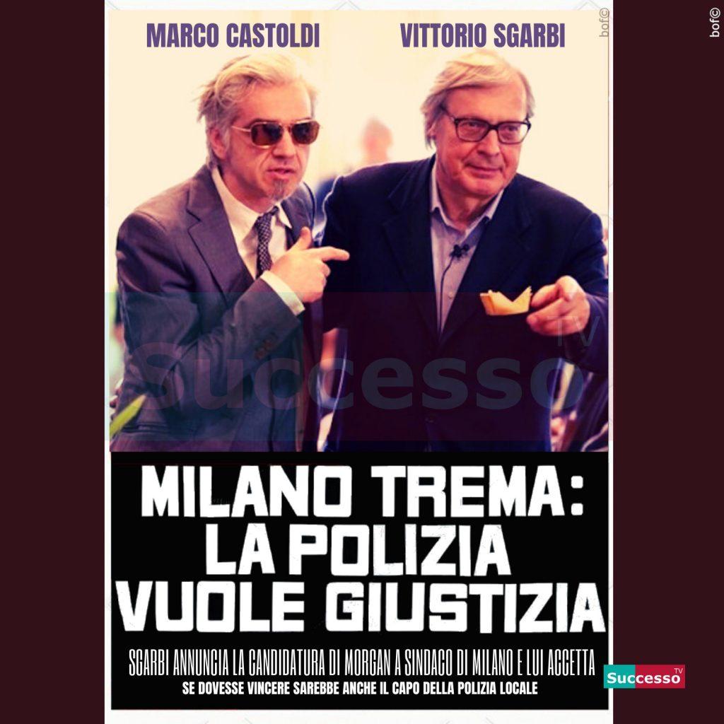 le cartoline di successo tv 2020 Milano Sgarbi Morgan Sindaco