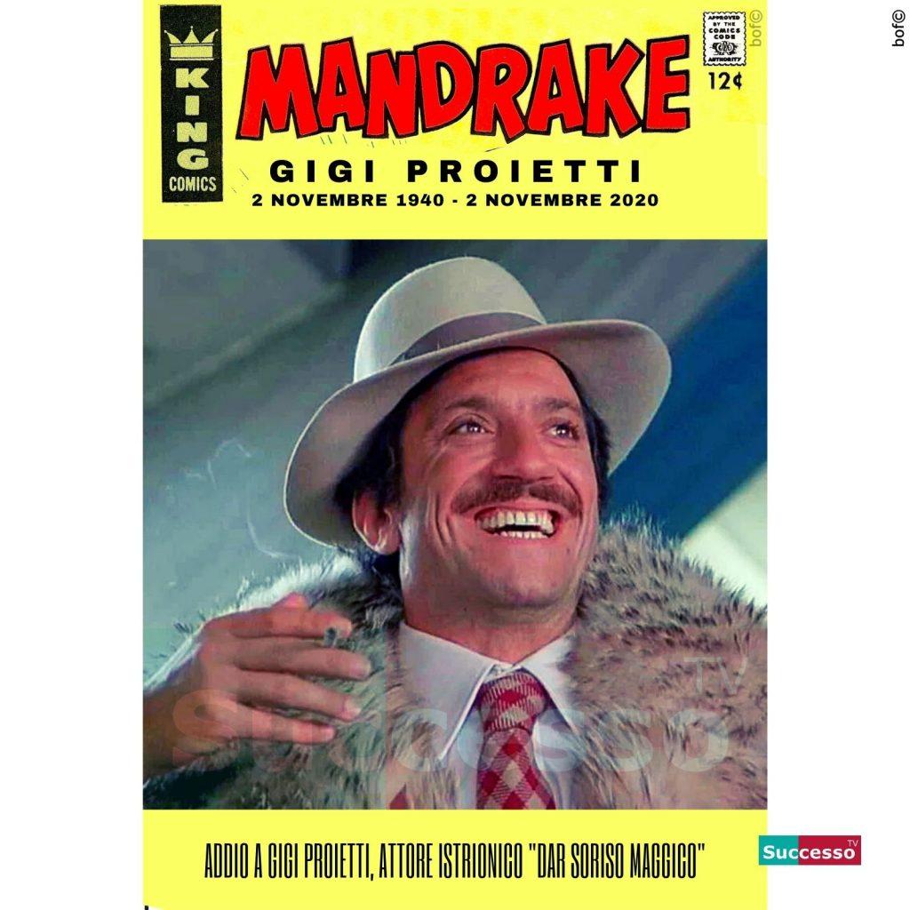 le cartoline di successo tv 2020 Addio Gigi Proietti Mandrake