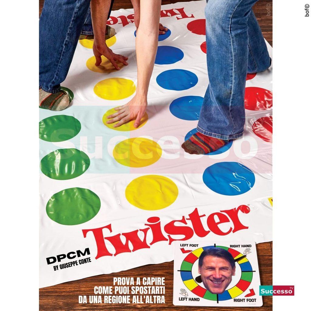le cartoline di successo tv 2020 Dpcm Zona Rossa Gialla Arancione Twisters